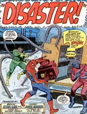 Amazing Spider-Man #56, john romita, suffering from amnesia, spider-man helps doctor octopus load the ultimate nullifier onto the back of his truck