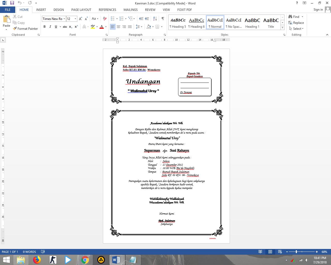 Bisa Di Edit Download 7 Undangan Pernikahan Format Doc Wonk Desain