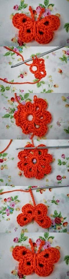 Aplique de mariposa al crochet - paso a paso