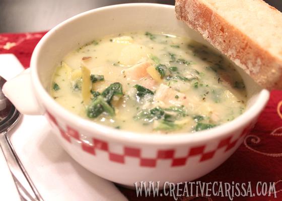 Spinach, Artichoke and Chicken Soup