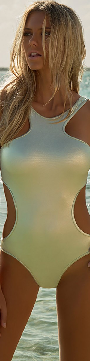 MELISSA ODABASH IBIZA CUT-OUT SWIMSUIT GOLD