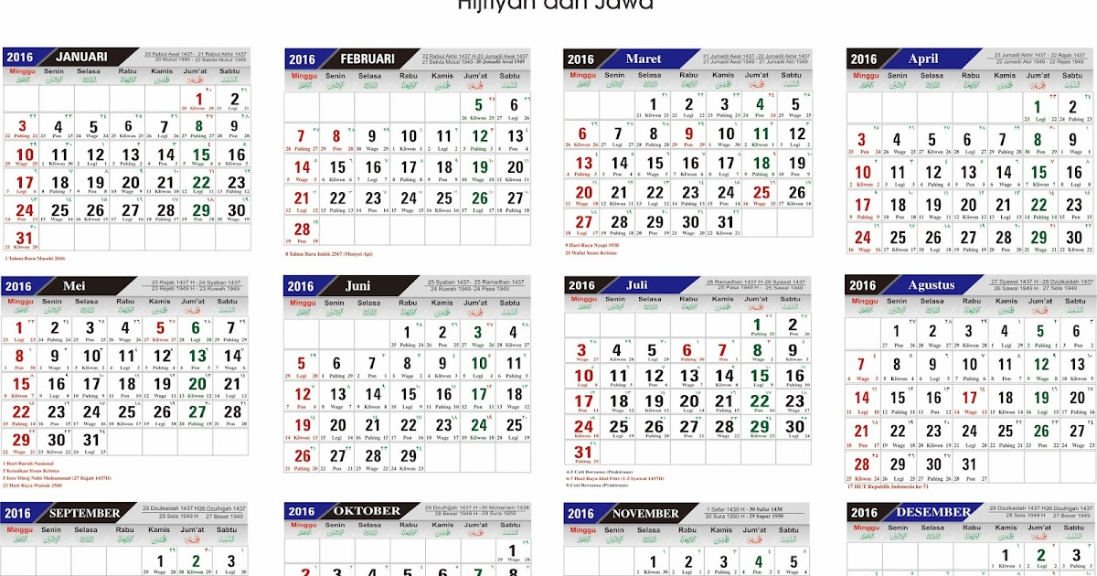 Download Template Kalender 2016 Lengkap Format Cdr