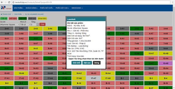 Giao diện phần mềm kinh doanh bất động sản Landsoft cho Donacoop