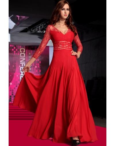 1222d58b4b9cec Favoriete SMIL Goedkope Avondjurken online shop  vloerlengte rode avondjurk   CN34