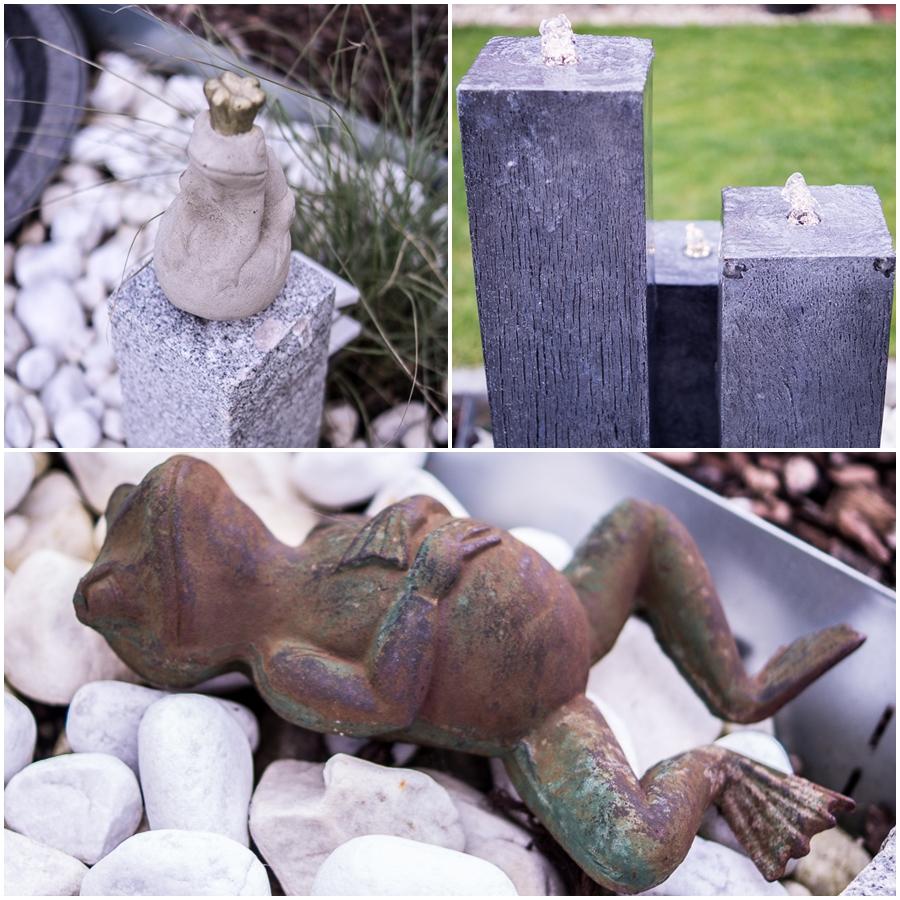 Blog + Fotografie by it's me | fim.works | Ein Garten im Norden | Collage von Froschkönig, chillendem Frosch und Gartenbrunnen