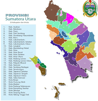 Peta Kabupaten dan Kota di Sumatera Utara