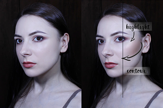 before after contouring guide powder sculpting beginners guide