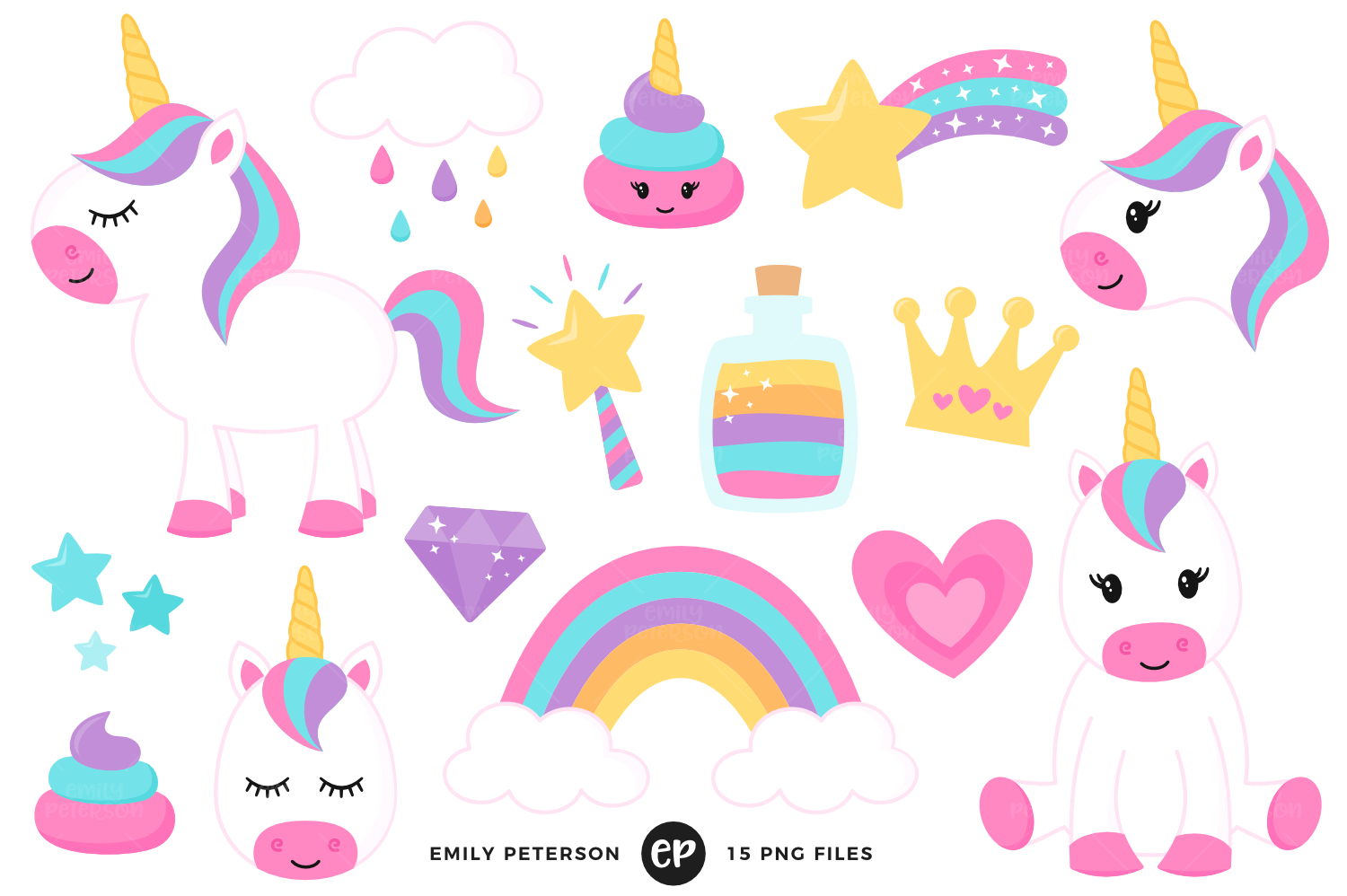 Unicorn Magic Clipart, Emily Peterson