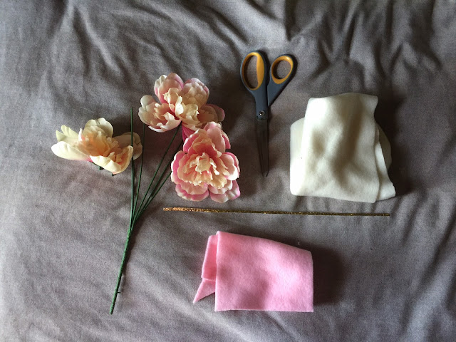 supplies for unicorn headband with flowers