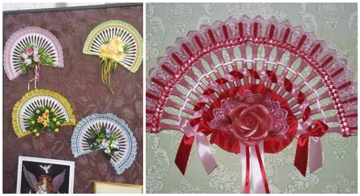 C mo hacer abanicos decorativos con tenedores de pl stico for Decoracion con abanicos