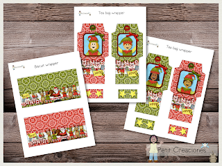 Printable Wrapper for biscuit & tea, SANTA