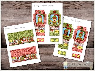 Printable Wrapper for biscuit & tea, SANTA