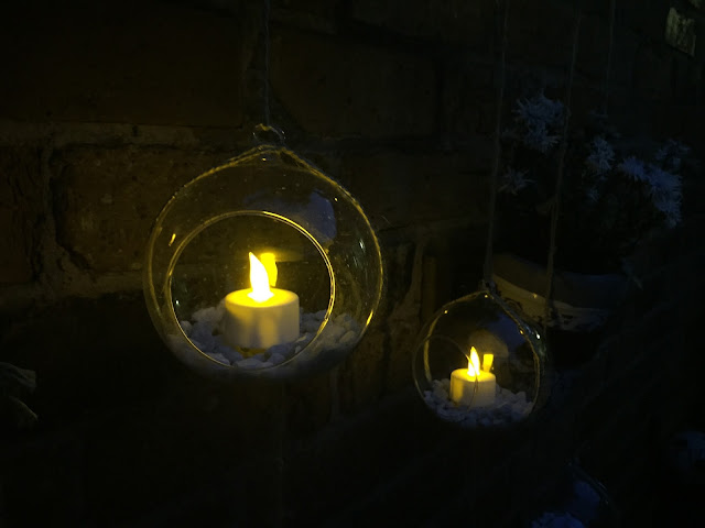 LED solar candles at night