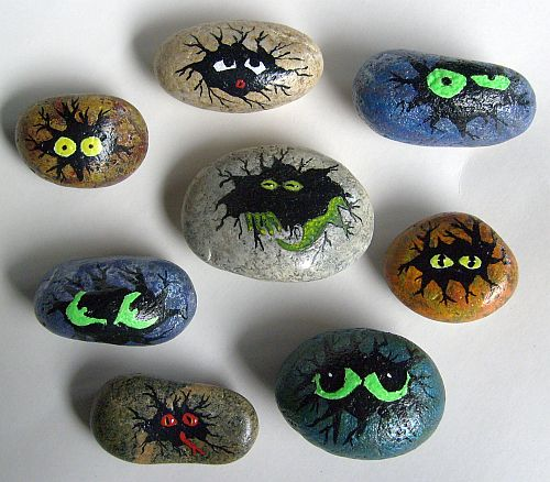 painted rocks, rock painting, ideas, glow in the dark