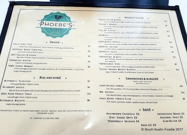 Phoebe's Diner menu