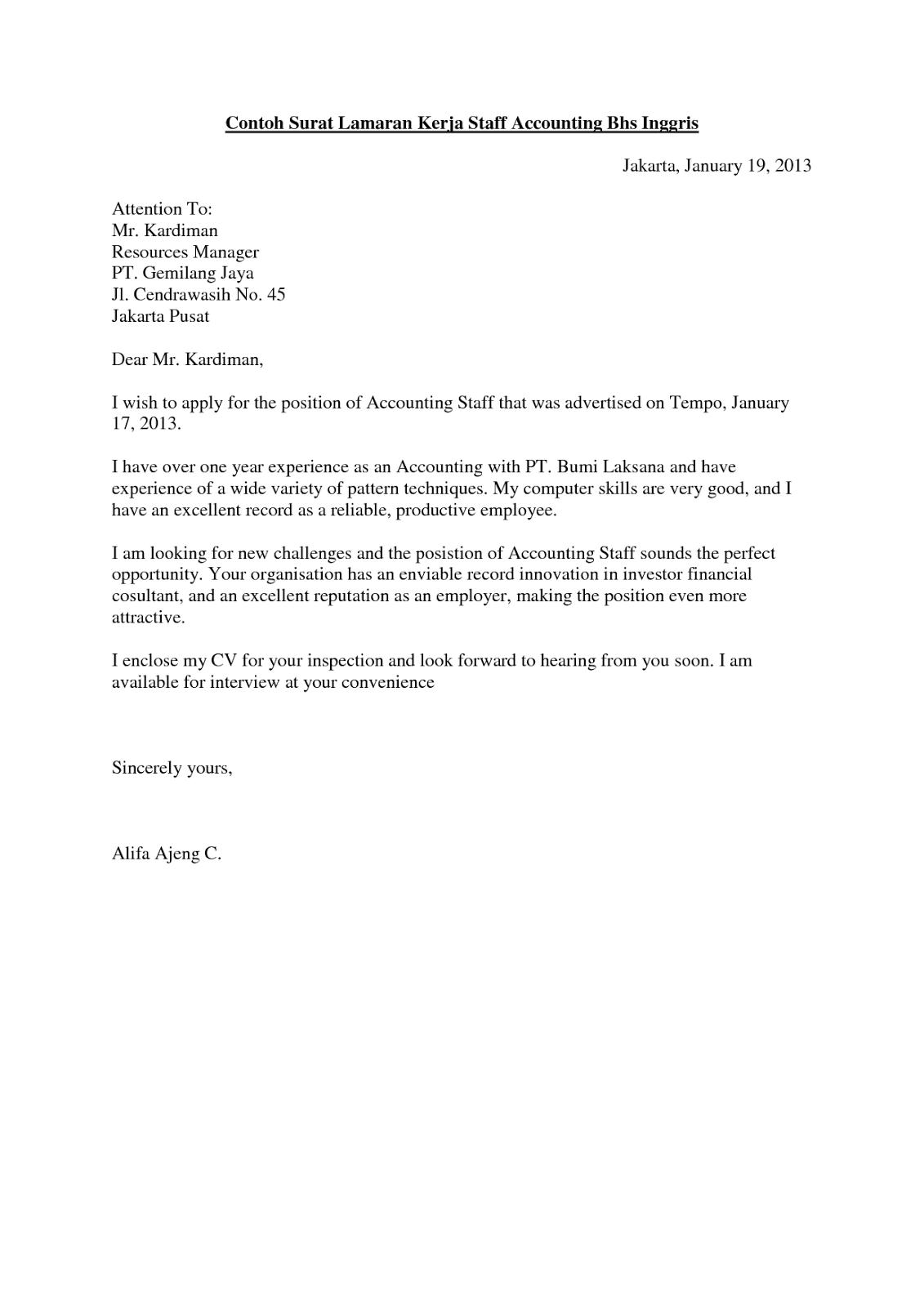 Surat Lamaran Kerja Bahasa Inggris Penjelasan Contoh Contoh Surat Lamaran Kerja Bahasa Inggris Fresh Graduate