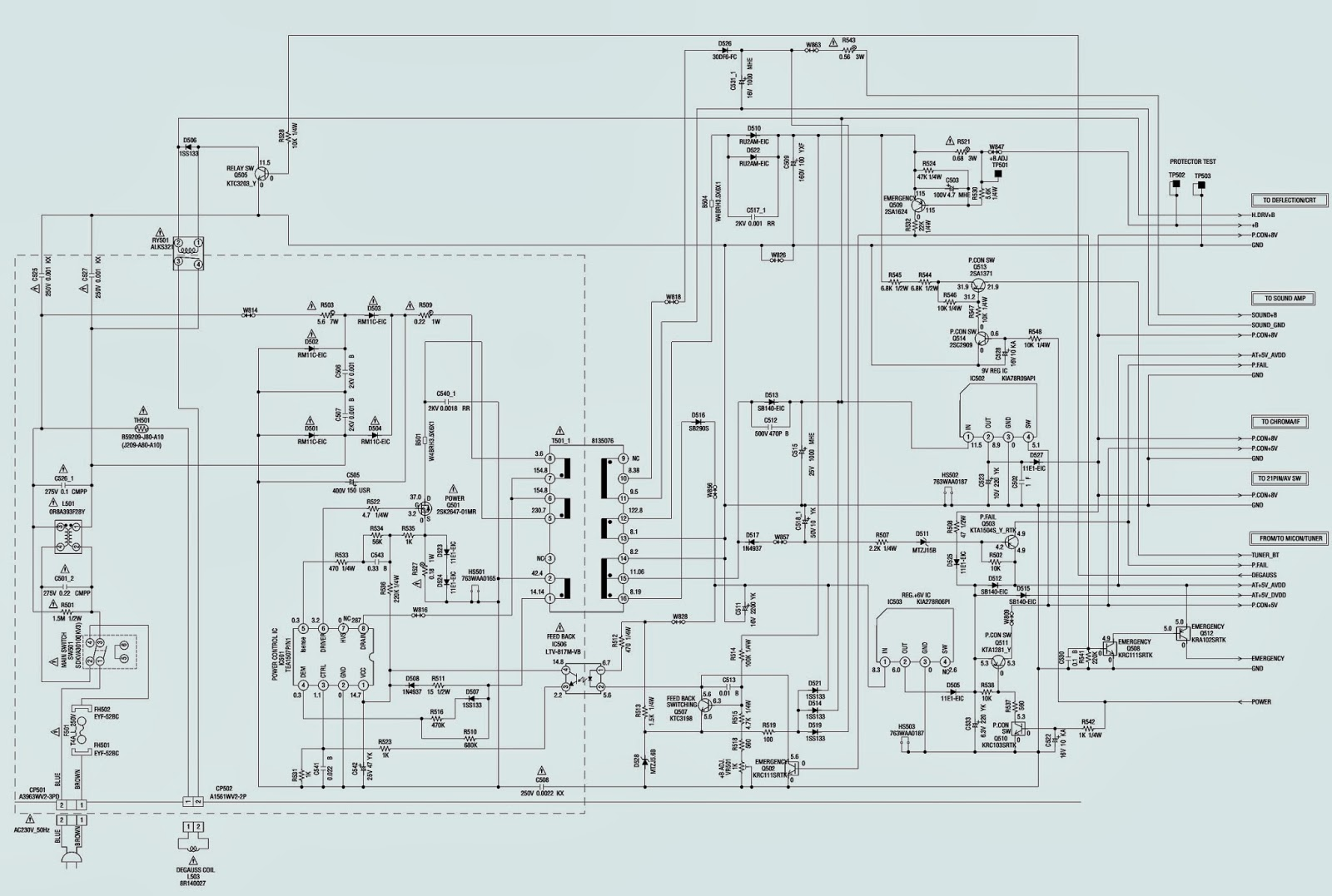 Smps Schematic Diagram 3 Speed Fan Switch 4 Wires Toshiba 15v11f Ctv Power Supply