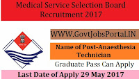 Medical Service Board Recruitment 2017– 77 Anaesthesia Technician
