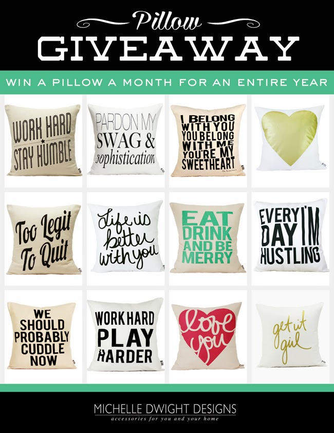 Absolutely adorable pillows giveaway- win pillows every month for an entire year from Michelle Dwight Designs via www.thirtyhandmadedays.com