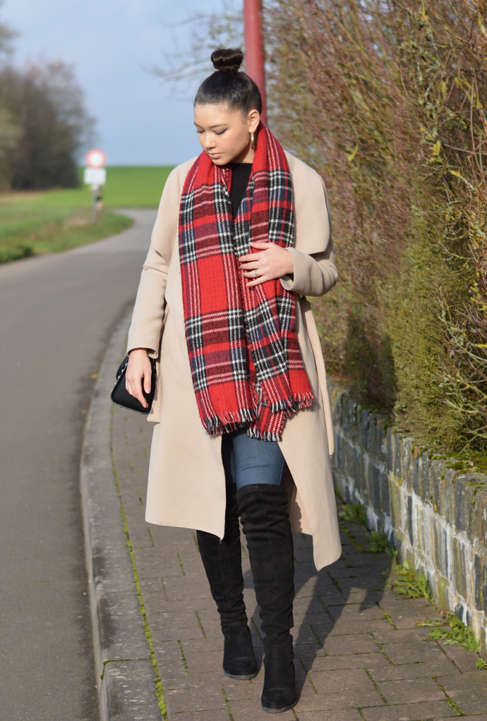 Plaid Scarf, Camel Coat, Classic High Waist Skinny Jeans, Fashion Nova