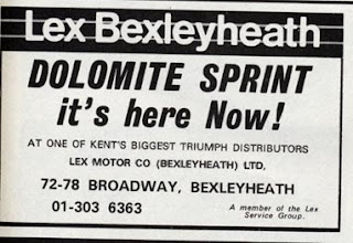 Lex Bexleyheath Dolomite Sprint advert Motor 23 June 1973