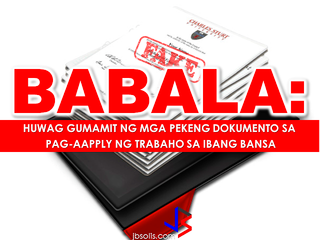 "To those OFWs who submitted fake or altered documents while applying for jobs abroad, it will only be a matter of time that the authorities find out about it and to those who are applying or planning to apply for a job using forged documents, you better think again because you will only put yourselves in trouble by doing it.  In UAE, people who fake certificates to get a visa or a job will get ten years jail term,  while those who photocopy official documents and tamper with them face up to five years in jail.  In 2014, forgery of educational certificates constituted around 40% of all document fraud cases according to the Abu Dhabi Judicial Department (ADJD) . The Public Prosecution referred 100 cases involving the falsification of documents — with counterfeit degrees and educational certificates — representing around half of them.   ""This has become a phenomenon committed mainly by those of Asian nationality as they try to find jobs or visas in the country that correspond to the falsified degree they claim to have. The forgery is usually discovered as these individuals give in their degrees to foreign affairs offices for attestation,"" according to a source in public prosecution.  Suspects face charges of forging an official document, faking a stamp, and attempting to use the fake document.     The warning does not apply only on OFWs but to all expatriates. In Saudi Arabia an expatriate from other Arab country sentenced by Jeddah court to a 1.5 years in prison while fine 5000 Saudi Riyal.He will also face deportation after the prison punishment because of using a fake degree.  This expatriate use his Ph.D degree for job in private dispensary. He was informed by ministry to the local police when the employer asked him for authentication of his document.  Obtaining a fake document is easy but the authorities have ways and resources in finding out if you are submitting an authentic document and most people are not aware of it. It will  be a matter of time but they will sure find out if you submitted forged documents and press charges to the violators.  The Saudi Arabian government started mounting a crackdown on fake diplomas and other documents that land users in lucrative jobs in the kingdom by using fake degrees and credentials.  ""The Ministry of Interior will apply statutory penalties on people involved in counterfeiting academic degrees,"" said a statement quoting Maj. Gen. Mohammed Bin Abdullah Al-Maroal, a ministry spokesperson.  People who will be caught using fake documents will undergo trial and penalized if proven guilty, they will face jail term and be deported after serving their jail term. They will also never be allowed to enter the kingdom again according to Al-Maroal.  An investigation by the Ministry of Education has revealed a huge number of candidates— Saudis and foreigners alike — who have obtained fake degrees and diplomas from illegal agents, Arab News report said.   Fake documents are everywhere for a cost. Avoid using them and don't even think about it. Instead of landing on your dream job, you may land in jail  and that could be a nightmare.  The Department of Foreign Affairs fervently warn OFWs against submitting fake documents while applying overseas jobs to avoid getting themselves into trouble.  Here is a real life story of an OFW who worked as a nurse in Dubai submitted in an OFW forum seeking for advise:          RECOMMENDED:  10 TIPS ON HOW TO SPOT A FAKE NEWS  ASEAN LEADERS TO CREATE PROTECTION RULES FOR MIGRANT WORKERS  OFW GETS HARSH WORDS FROM OWN BROTHER  BEFORE YOU GET MARRIED,BE AWARE OF THIS  ISRAEL TO HIRE HUNDREDS OF FILIPINOS FOR HOTEL JOBS  MALLS WITH OSSCO AND OTHER GOVERNMENT SERVICES  DOMESTIC ABUSE EXPOSED ON SOCIAL MEDIA  HSW IN KUWAIT: NO SALARY FOR 9 YEARS  DEATH COMPENSATION FOR SAUDI EXPATS  ON JAKATIA PAWA'S EXECUTION: ""WE DID EVERYTHING.."" -DFA  BELLO ASSURES DECISION ON MORATORIUM MAY COME OUT ANYTIME SOON  SEN. JOEL VILLANUEVA  SUPPORTS DEPLOYMENT BAN ON HSWS IN KUWAIT  AT LEAST 71 OFWS ON DEATH ROW ABROAD  DEPLOYMENT MORATORIUM, NOW! -OFW GROUPS  BE CAREFUL HOW YOU TREAT YOUR HSWS  PRESIDENT DUTERTE WILL VISIT UAE AND KSA, HERE'S WHY  MANPOWER AGENCIES AND RECRUITMENT COMPANIES TO BE HIT DIRECTLY BY HSW DEPLOYMENT MORATORIUM IN KUWAIT  UAE TO START IMPLEMENTING 5%VAT STARTING 2018  REMEMBER THIS 7 THINGS IF YOU ARE APPLYING FOR HOUSEKEEPING JOB IN JAPAN  KENYA , THE LEAST TOXIC COUNTRY IN THE WORLD; SAUDI ARABIA, MOST TOXIC  ""JUNIOR CITIZEN ""  BILL TO BENEFIT POOR FAMILIES"