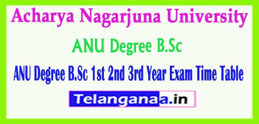 ANU Degree B.Sc 1st 2nd 3rd Year Exam Time Table 2018
