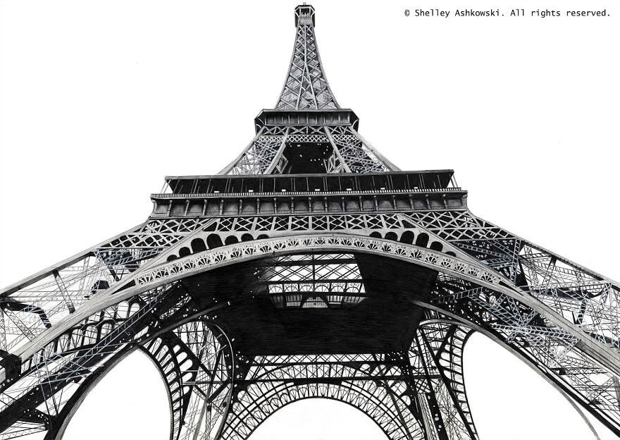 02-Eiffel-Tower-S-Ashkowski-Cities-and-Landmarks-Ballpoint-Pen-Drawings-www-designstack-co