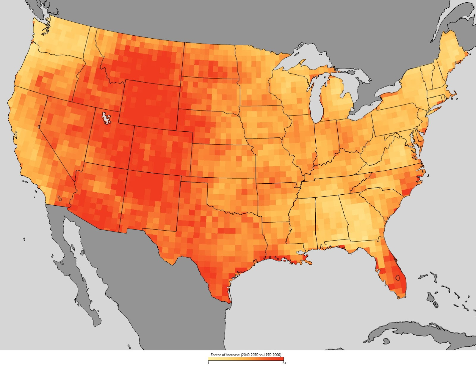 Increase in total heatwave days by state