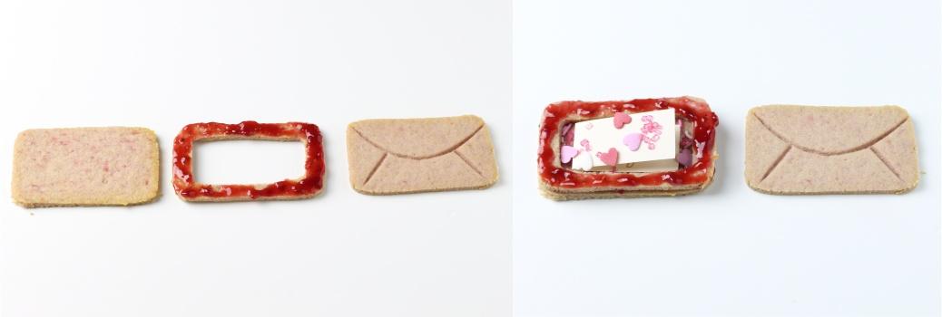 Himbeer-Valentinstags-Cookies im Briefumschlag-Look mit Überraschung Anleitung 2