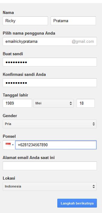 isi formulir data pribadi untuk membuat email