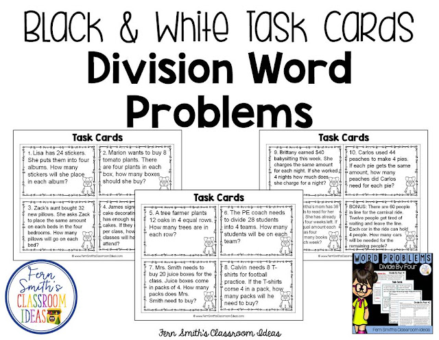 https://www.teacherspayteachers.com/Product/Word-Problems-3rd-Grade-Divide-By-Four-Printables-Task-Cards-and-Assessments-3084940