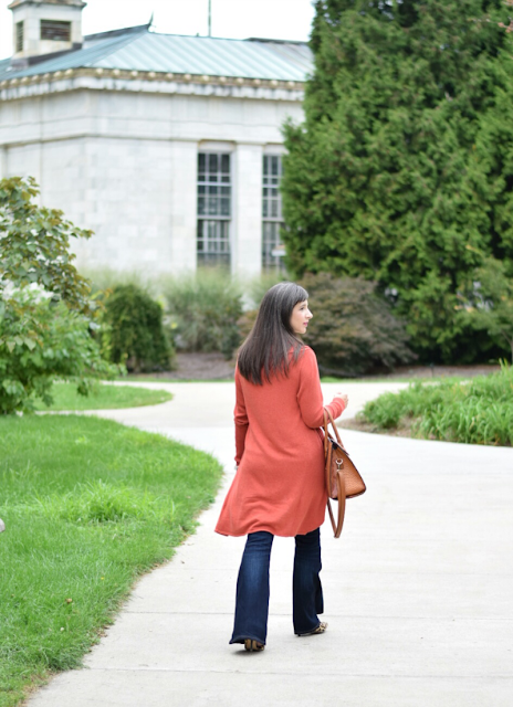 Flare jeans with cardigan for fall outfit inspiration
