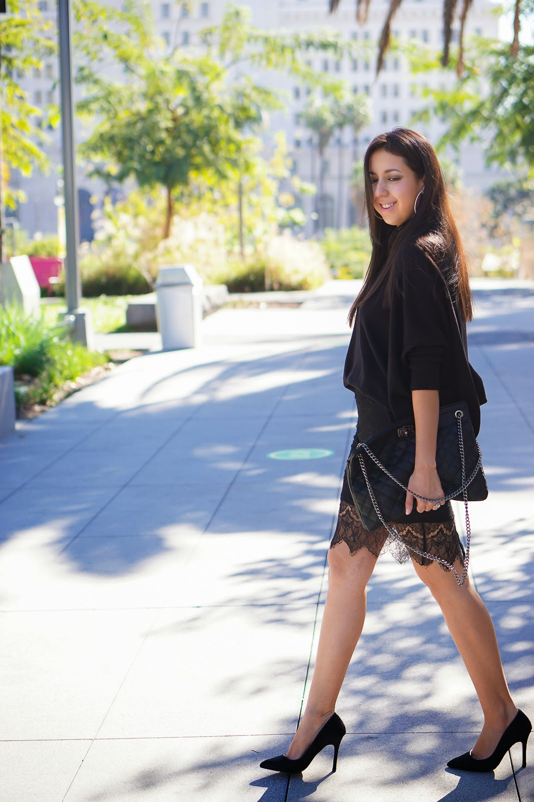Kardashian Kollection black lace skirt, Black Lace Skirt, Black Pumps, Black Heels, Forever 21 Black Clutch, Oversized Sweater, Pencil Skirt, Lace Skirt, How to wear a Lace Skirt, Kardashian Kollection