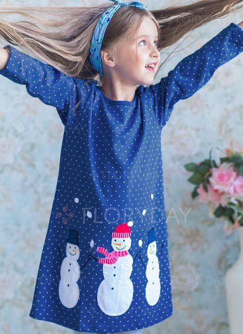 Girls' Cute Cartoon Christmas Long Sleeve Dresses