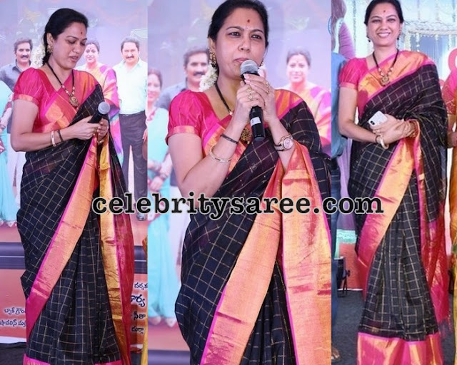 Hema Black Checks Silk Saree