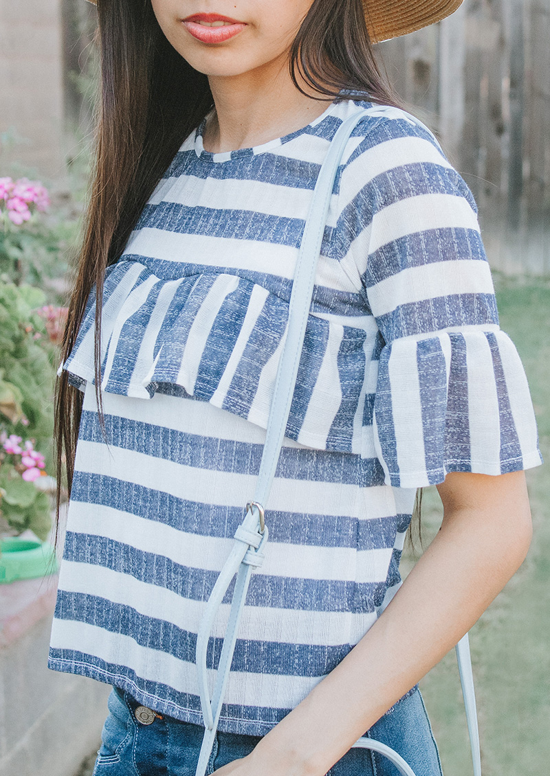 blue striped ruffle blouse close up side