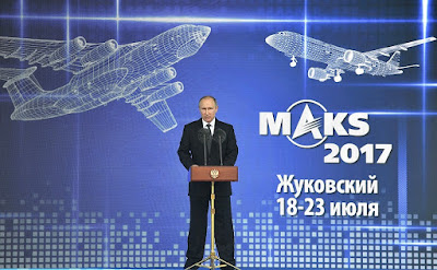 Russian President Vladimir Putin at the opening ceremony of the International Aviation and Space Salon MAKS-2017.