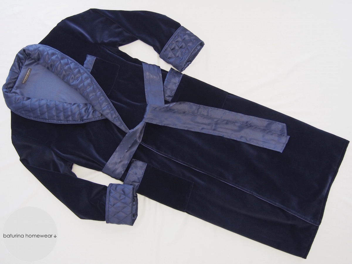 Men's Navy Blue Velvet And Quilted Silk Dressing Gown And