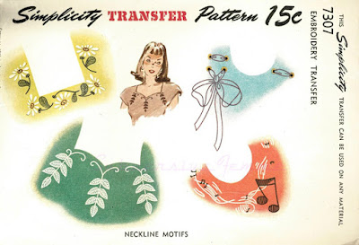 The Vintage Pattern Files: Free 1940's Knitting Pattern - Neckline Embroidery Motifs