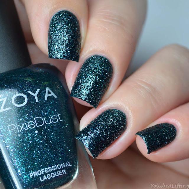 teal textured nail polish
