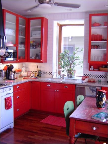 Diseño de cocina en rojo blanco