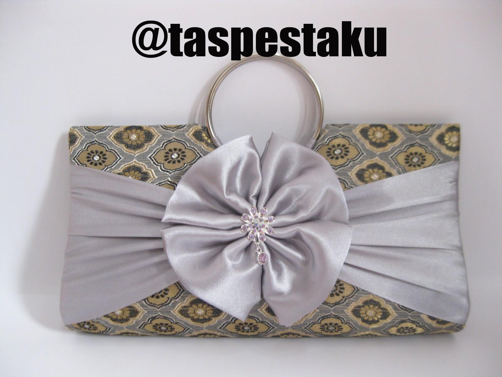 Handmade Tas Pesta Mewah Bahan Mirip S gket Sari India SIlver Bisa Customized Warna