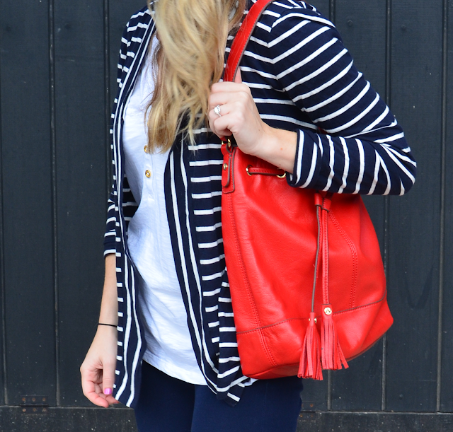 bucket bag; stripe; STRIPES; LANDS END; RED LEATHER BAG