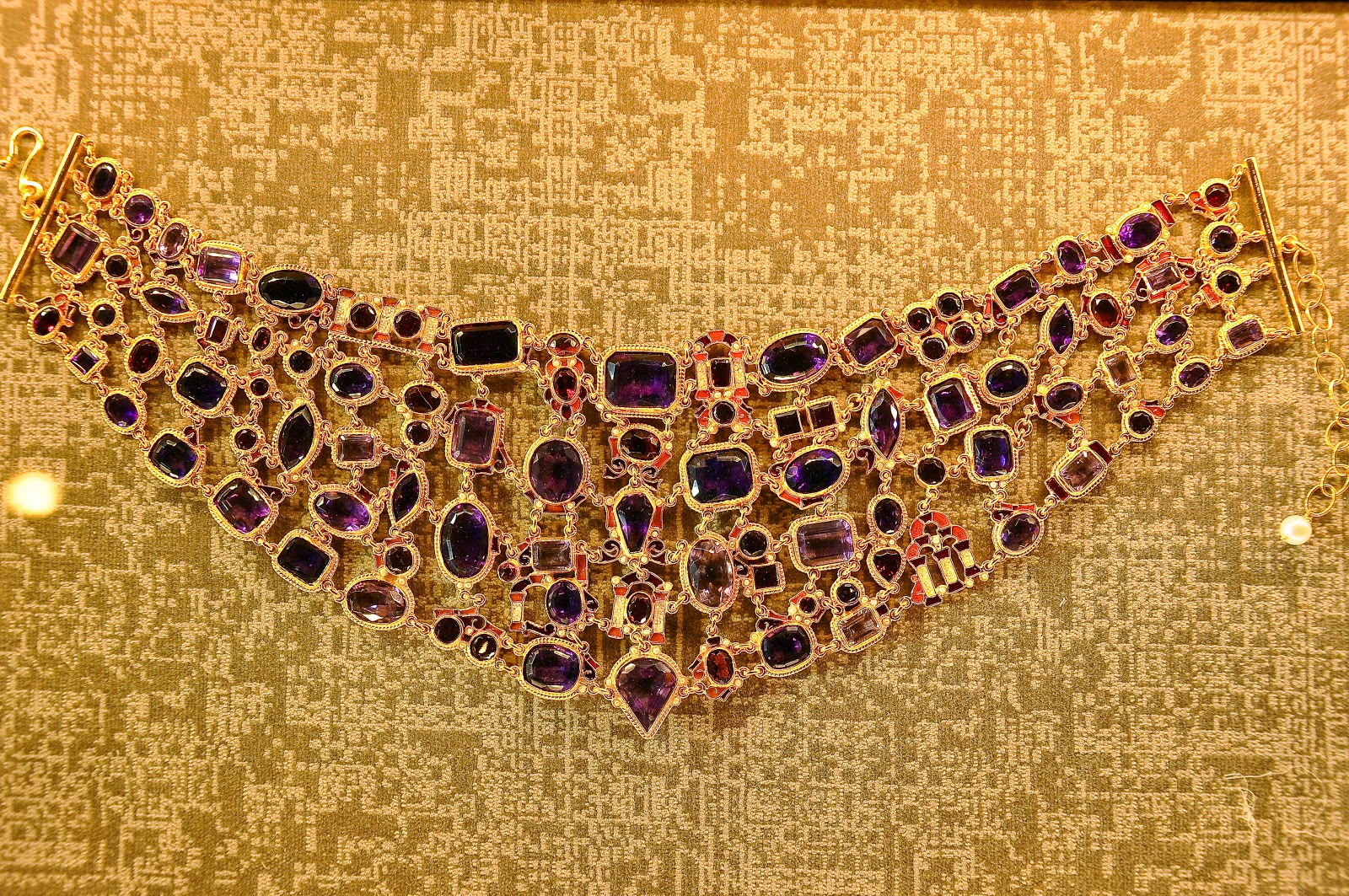 An amethyst and gold necklace in the Beauty room in the Museum of the Jewellery in Vicenza