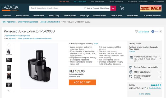 Pensonic Juice Extractor PJ-6900S
