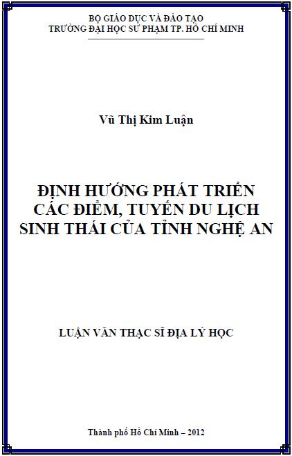 Định hướng phát triển các điểm, tuyến du lịch sinh thái của tỉnh Nghệ An