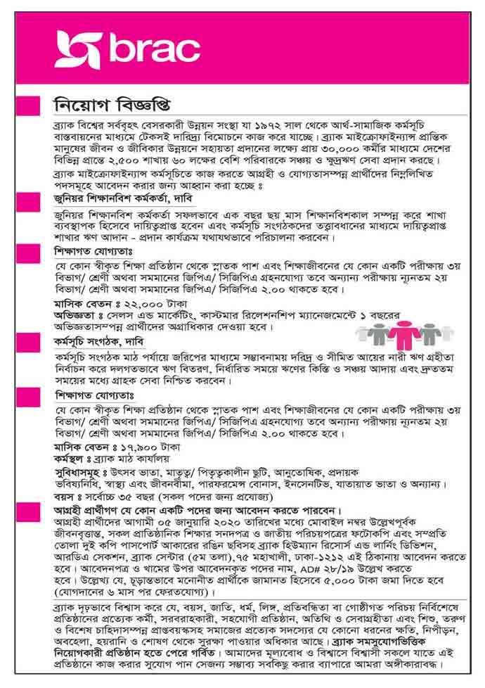 ব্র্যাক এনজিও নিয়োগ বিজ্ঞপ্তি 2020 - BRAC NGO JOB CIRCULAR 2020 / এনজিও চাকরির খবর ২০২০