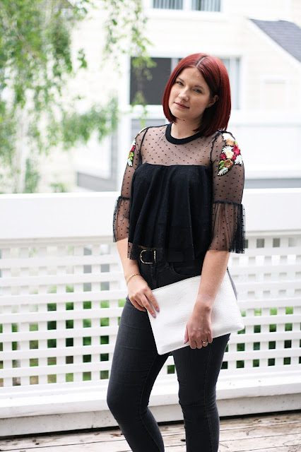 SheIn, Embroidery, crop top, affordable fashion, womenswear, sheer top
