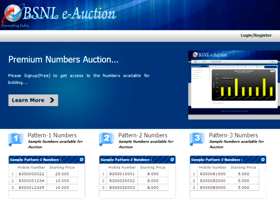 BSNL e-Auction of Fancy Mobile Numbers : November 2020 (from 16-11-2020 to 23-11-2020)